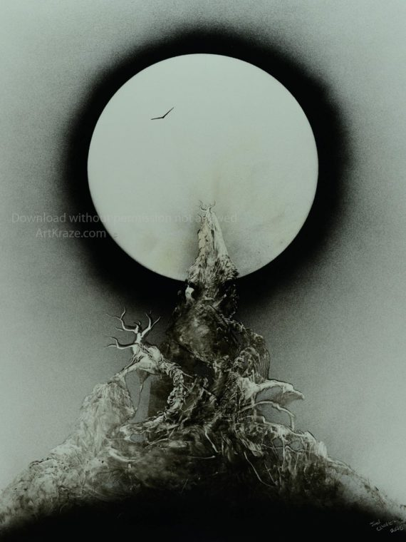 black and white spray paint art clear full moon